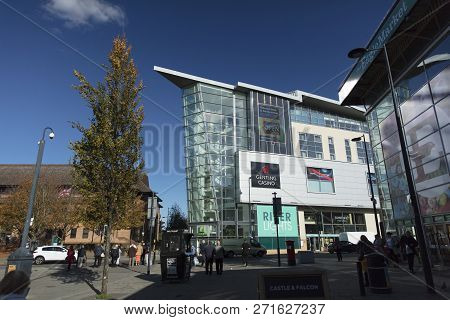 Derby, Derbyshire, Uk: October 2018: River Lights Development, Holiday Inn And Genting Casino