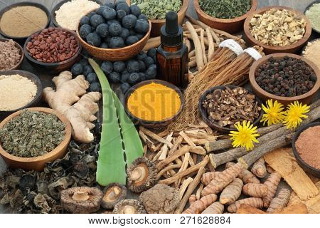 Adaptogenic food collection with herbs, spices, fruit, essential oil and supplement powders. Used to help the body resist the damaging effect of stress and restore normal physiological functioning.