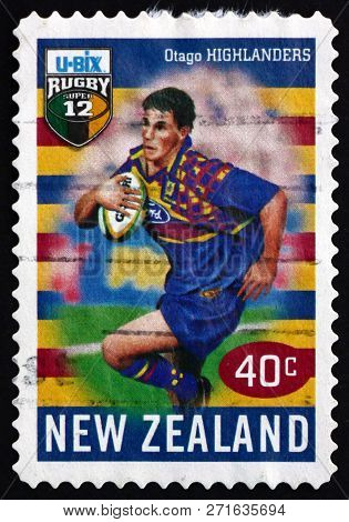 New Zealand - Circa 1999: A Stamp Printed In New Zealand Shows Running With Ball, Otago Highlanders,