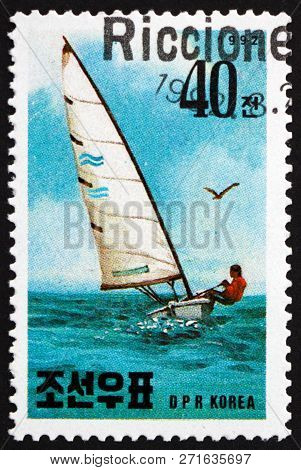 North Korea - Circa 1992: A Stamp Printed In North Korea Shows Pinclass Yacht, Yachting, Circa 1992