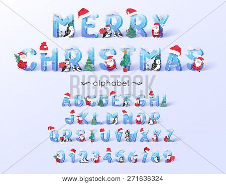 Vector Christmas Font And Alphabet. 3d Ice Letters Decorated With New Year Symbols Santa Claus, Tree