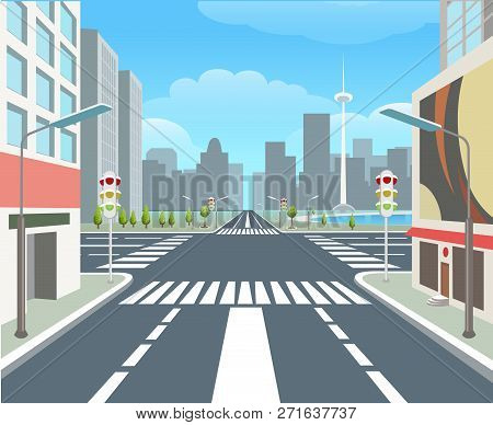 City Road. Traffic Road Urban Street, Carsroad Junctions, Business Buildings, Crossing Roads, City H