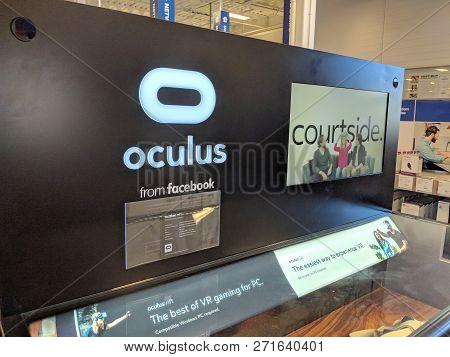 Honolulu - May 29, 2018: Oculus From Facebook Display In Honolulu Best Buy Store.   Oculus Vr Is An