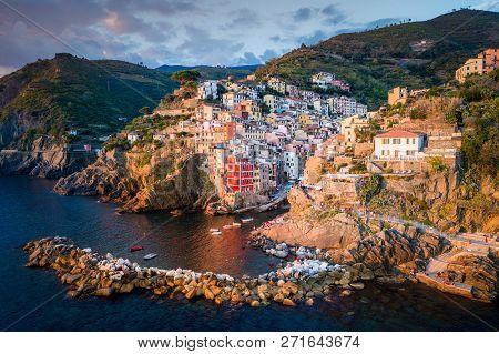 Riomaggiore Of Cinque Terre, Italy - Traditional Fishing Village In La Spezia, Situate In Coastline