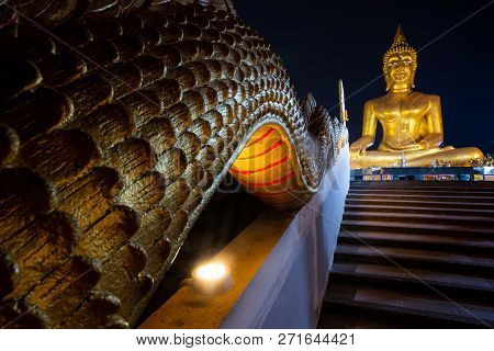 Dragons Staircase Leading To A Colossal Buddha Statue. Pattaya City