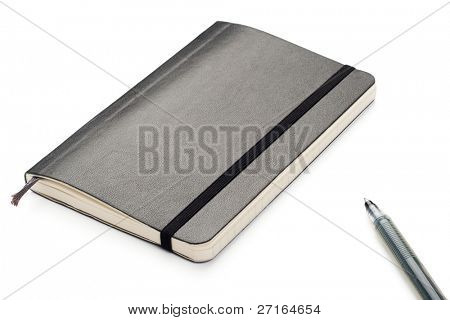 Black Moleskine notebook on white background