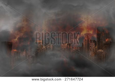 Abandoned City And Rusted Building Burned In A Flaming Fire, Concept Of War