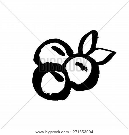 Berry Icon. Bluberry Grunge Brush Hand Drawn Illustration. Vector.