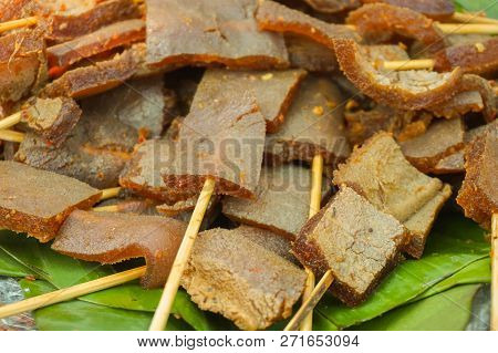 Skin Sate Satay Closed Up Traditional Food Served In Banana Leaf From Indonesia