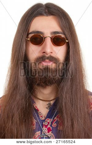 Long-haired hippie man in a glasses poster