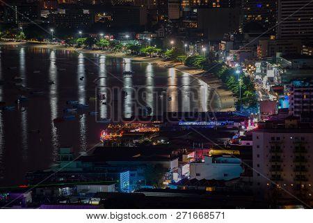 Pattaya City At Night View From Pratumnak Hill Overlook Thailand
