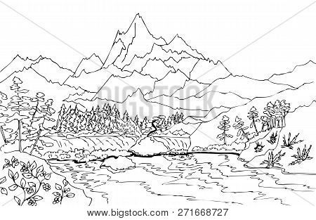 Landscape With High Mountains And Waterfall. Hand Drawn Illustrations For Coloring