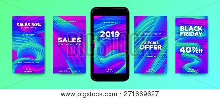 Stories Templates With Abstract Fluid Wave Shape. Colorful 3d New Year Sales Flyer For Promotion In