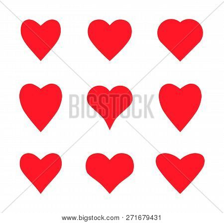 Valentine Card Love Hearts Vector. Social Nets Like Red Heart Web Buttons Isolated On White Backgrou