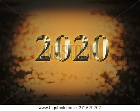 Luxury Gold 2020 New Year On Gold Bokeh Background. Happy New Year 2020.