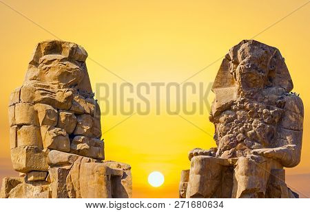 Colossi Of Memnon, Luxor, Thebes, Beautiful Yellow Sunny Background
