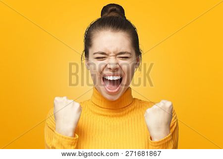 Girl Power! Closeup Of Emotional Woman Screaming With Joy And Victorious Expression, Holding Hands I