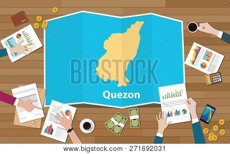 Quezon Philippines Province City Region Economy Growth With Team Discuss On Fold Maps View From Top