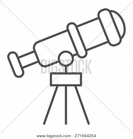 Telescope Thin Line Icon. Spyglass Vector Illustration Isolated On White. Ocular Outline Style Desig