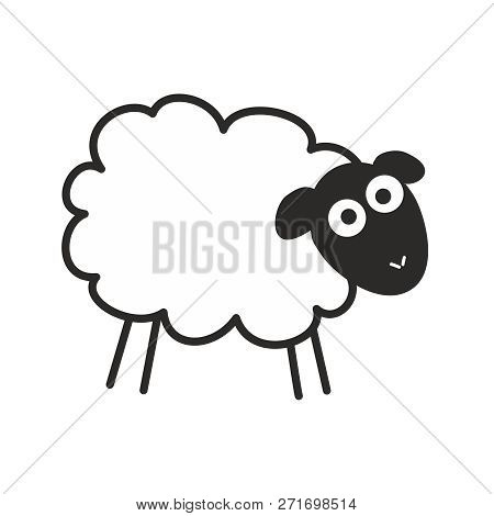 Surprised, Staring Sheep. Insomnia Vector Illustration Isolated On White Background