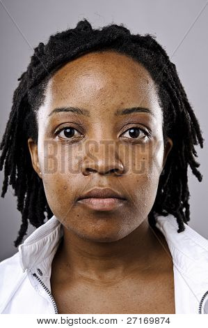 Highly detailed portrait of a young black girl