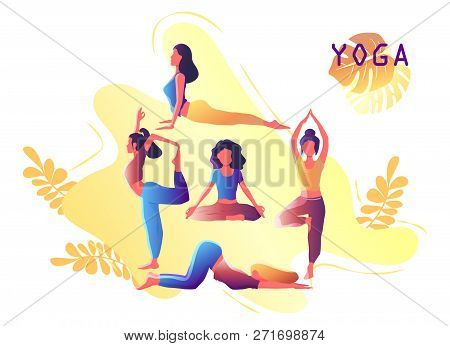 Yoga Workout Girl Set. Woman Doing Yoga Exercises. Yoga Emblem For Poster, Banner, Flyer Or Card Des
