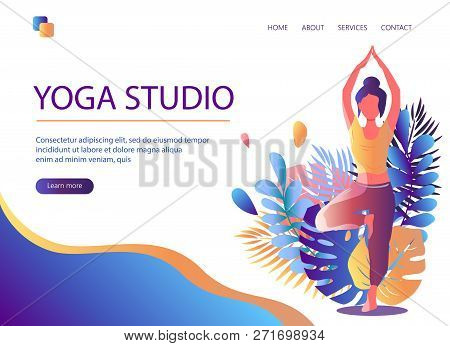 Web Page Template Of Yoga Studio. Modern Flat Design Concept Of Web Page Design For Website And Mobi