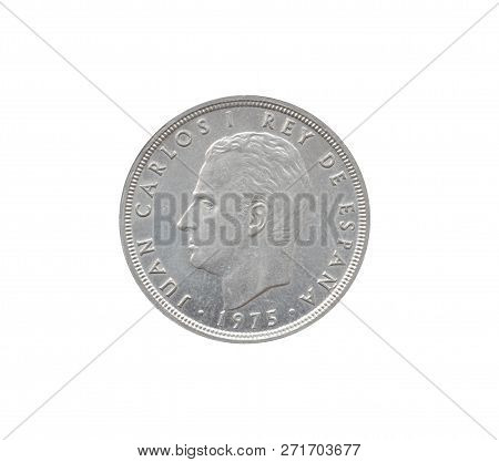 Obverse Of 50 Pesetas Coin Made By Spain That Shows Portrait Of Juan Carlos I