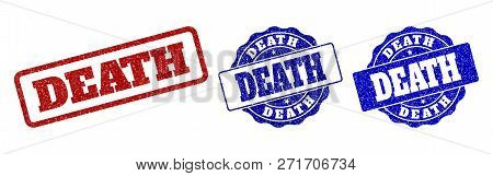 Death Grunge Stamp Seals In Red And Blue Colors. Vector Death Labels With Draft Texture. Graphic Ele
