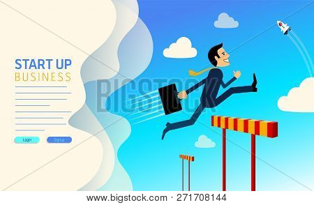 Website Template For Startup Company.  Businessman Jumping Over Hurdle. Business Concept Overcoming