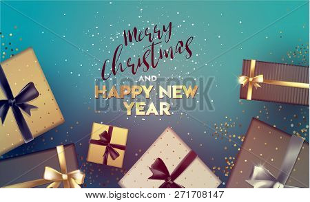 Merry Christmas And New Year 2019. Happy New Year. Greeting Card With Inscription Happy New Year 201