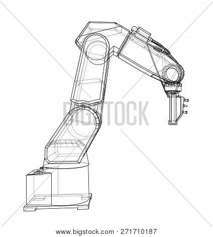 3d Outline Robotic Arm. 3d Illustration. Wire-frame Style