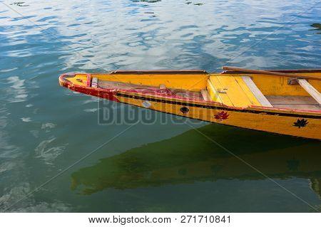 Wooden Boat On Dal Lake In Srinagar, India
