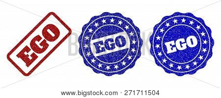 Ego Grunge Stamp Seals In Red And Blue Colors. Vector Ego Signs With Grunge Texture. Graphic Element