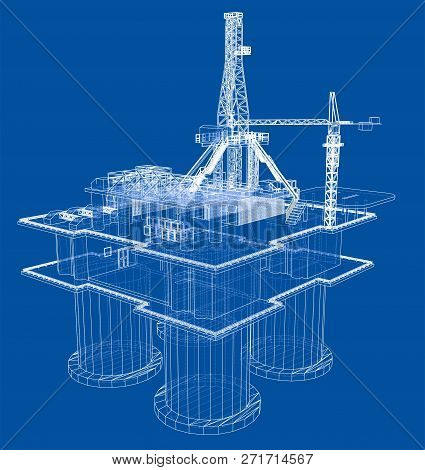Offshore Oil Rig Drilling Platform Concept. 3d Illustration. Wire-frame Style
