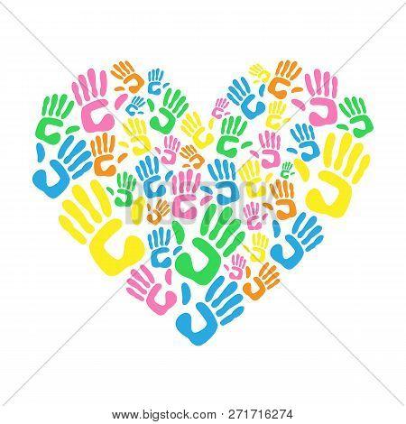 Heart Made From Children Handprints. Philanthropy Concept. Vector Illustration.