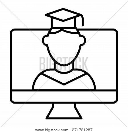 Online Educationa Thin Line Icon. Student On Monitor Vector Illustration Isolated On White. E-learni