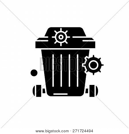 Dustbin Black Icon, Concept Vector Sign On Isolated Background. Dustbin Illustration, Symbol