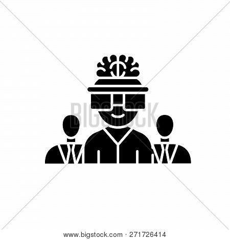 Business Brainstorming Black Icon, Vector Sign On Isolated Background. Business Brainstorming Concep
