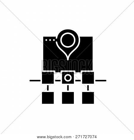 Sitemap Web Structure Black Icon, Vector Sign On Isolated Background. Sitemap Web Structure Concept
