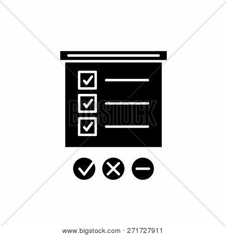 Survey List Black Icon, Vector Sign On Isolated Background. Survey List Concept Symbol, Illustration