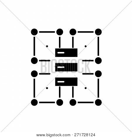 Organization Structure Black Icon, Vector Sign On Isolated Background. Organization Structure Concep