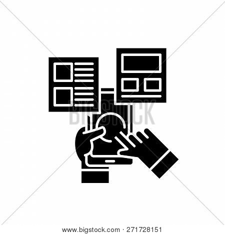 User Interaction Black Icon, Vector Sign On Isolated Background. User Interaction Concept Symbol, Il