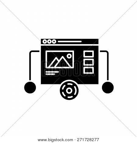 Website Prototyping Black Icon, Vector Sign On Isolated Background. Website Prototyping Concept Symb