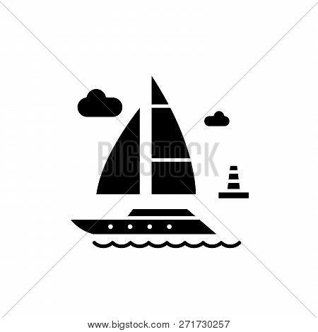 Pleasure Boat Black Icon, Vector Sign On Isolated Background. Pleasure Boat Concept Symbol, Illustra