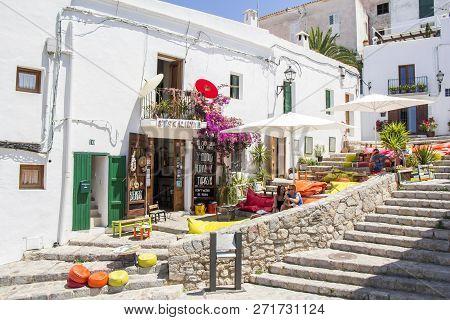 Ibiza, Spain - June 21, 2017. View Of The Ibiza Old Town Streets In Dalt Vila Plenty Of Restaurants.