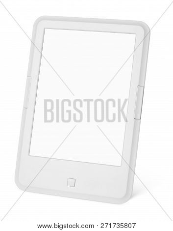 Portable E-book Reader Isolated On White Background With Two Clipping Path For Book And Screen