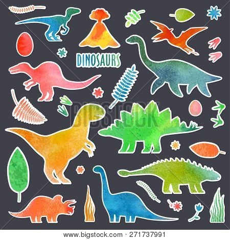 Dino Watercolor Stickers Set. Dinosaurus Stickers Isolated.