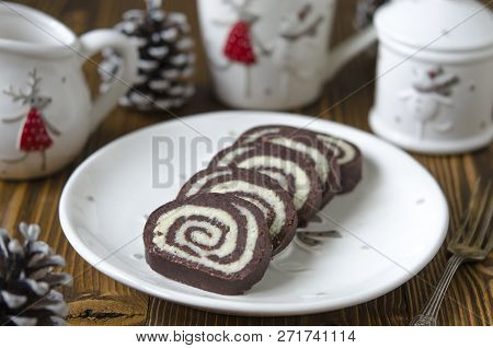 Chocolate-coconut Roll Without Baking Cookies And Coconut Chips