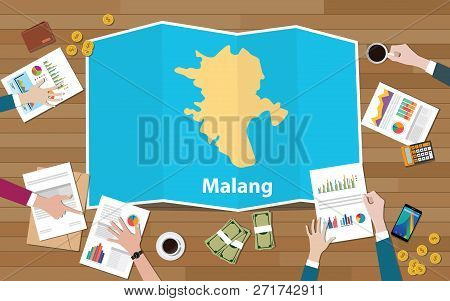 Malang Indonesia Java City Region Economy Growth With Team Discuss On Fold Maps View From Top Vector